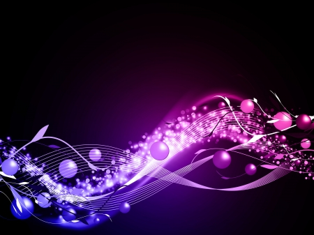 twinkling: wavy glowing abstract neon background with balls and floral