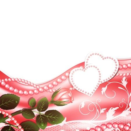 Hochzeits-Rahmen mit Herzen lieben, Perlen und stieg, copyspace für Ihren Text