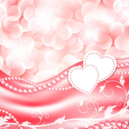 Wedding love holiday background with hearts and pearls Vector