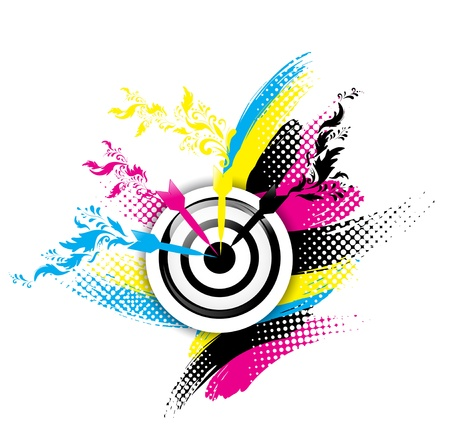 cmyk abstract: Creative CMYK design with target and floral