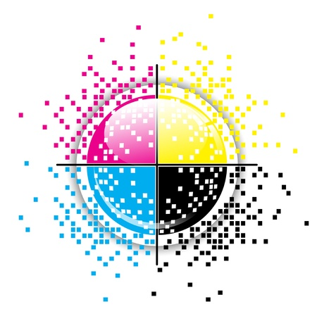 prepress: Creative CMYK pixelated design over white