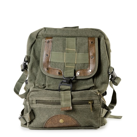 old items: Old tarpaulin backpack over the white background