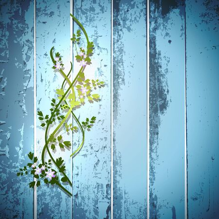 garden fence: blue summer fence with flowers through it  Illustration