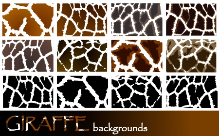 Collection of different giraffe pattern backgrounds Vector
