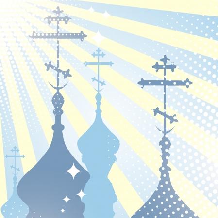 kopule: náboženství scenérie s kostelní kopule silueta a slunce Ilustrace