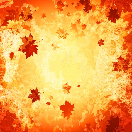 autumn abstract grunge background with maple leaves Vector