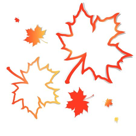 autumn leaf: Autumn with abstract maple leaves frames over white