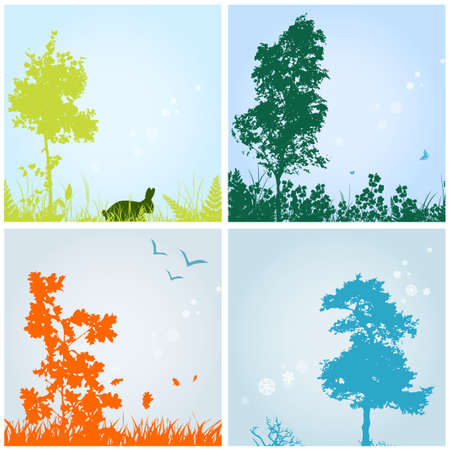 four seasons: seasons theme with silhouettes of trees and grass