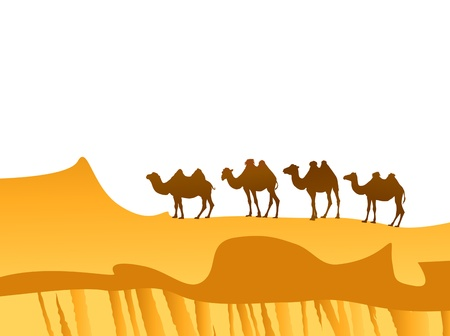 camel caravan in the desert over white background Vector