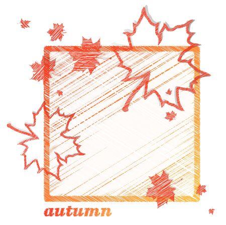 hojas de maple: marco del oto�o con las hojas de arce sobre fondo blanco Vectores
