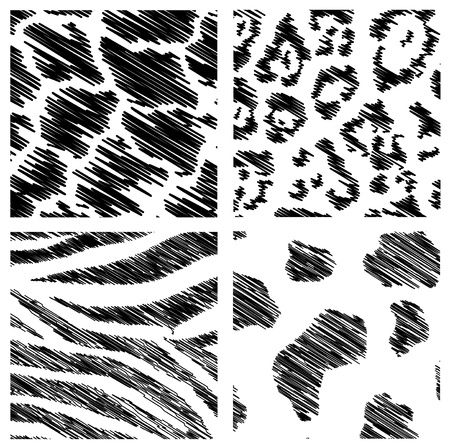 animal skin: wild animal abstract backgrounds set over white background