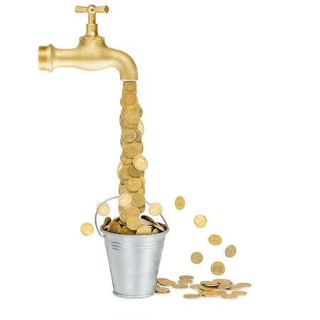 bucket of money: small coins flowing into a bucket from the tap