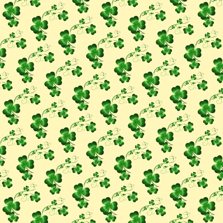 Seamless Patrick holiday background with green clover Vector