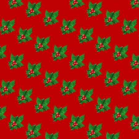 christmas seamless pattern: Seamless Christmas background with green fir and red berries