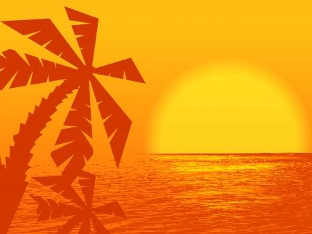 sunset at the ocean with palms Ilustração