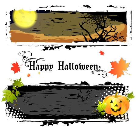 happy halloween: Happy Halloween Banners With Pumpkin and Big Moon Illustration
