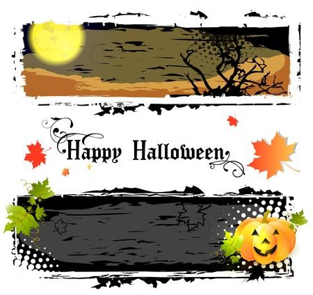 harvest moon: Happy Halloween Banners With Pumpkin and Big Moon Illustration