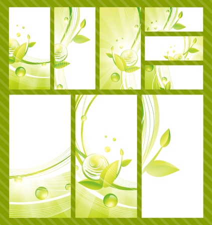 Green Eco Banner Collection With Baubles and Leaves Stock Vector - 15512316