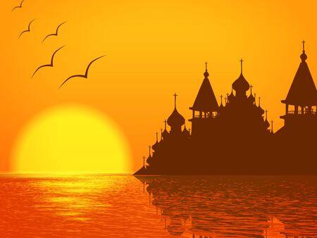 kopule: Náboženství Krajina s kostel kopule silueta a západ slunce na jezeře