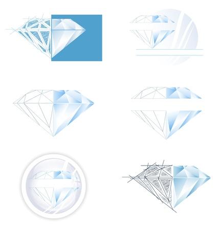 Diamond Collection: Set of Different Diamond Illustration Designs  Vettoriali