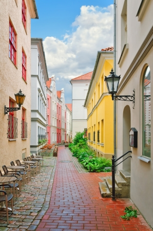Narrow street of the old European city