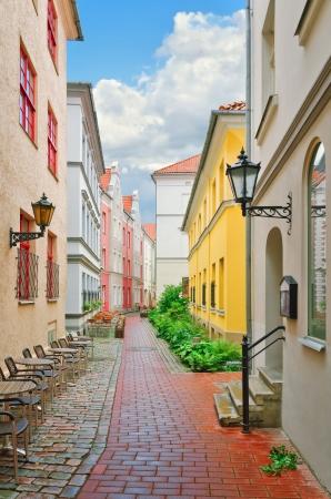 Narrow street of the old European city