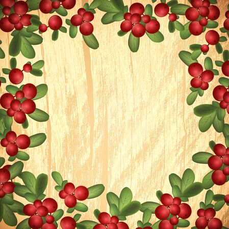 cowberry: Cranberries With Green Leaves Over Wooden Background