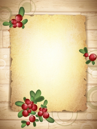 Vintage Grunge Burnt Paper at Wooden Background With Cranberries Decoration  Vector