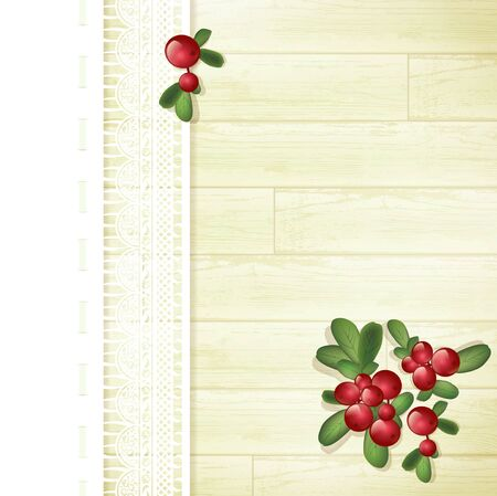 wild berry: Cranberries at Wooden Background With Lace Decoration Illustration