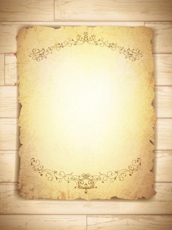papyrus: vintage grunge burnt paper at wooden background, copyspace