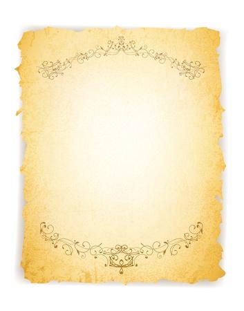 burnt paper: Vintage Grunge Burnt Paper Over White Background, Copyspace