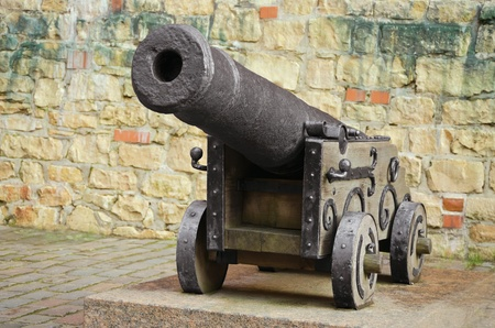 gunnery: Old Cannon Near The Fortress Wall Stock Photo