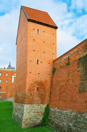 fortified wall: Part Of An Old Fortified Wall With Tower.Riga. Latvia