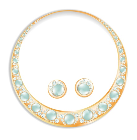 pearl necklace: Golden Earrings Necklace Set With Blue Pearls Illustration