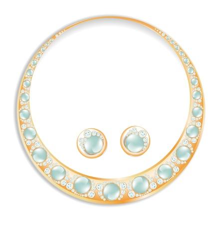 colliers: Or Collier Boucles d'oreilles sertis de perles bleues