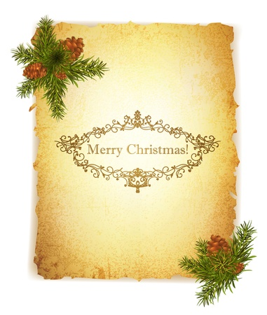 burned paper: Vintage Grunge Paper With Christmas Greetings in Monogram Frame
