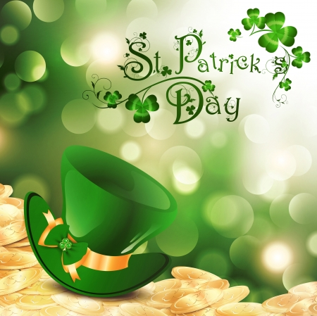 patricks: St.Patrick Holiday Theme With Gold Coins, Green Hat and Shamrock Over Bright Background Illustration