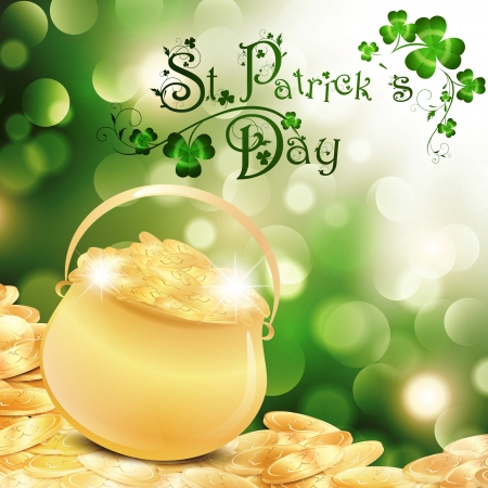 golden pot: St.Patrick Holiday Theme With Gold Coins, Golden Pot and Shamrock Over Bright Background