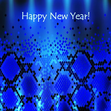 Snake New Year Background in Blue Vector