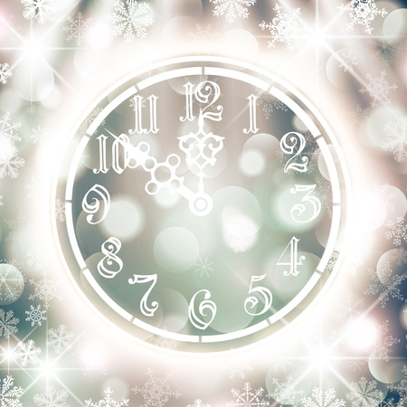 midnight hour: New Year Watch Over Bright Background With Snowflakes and Stars