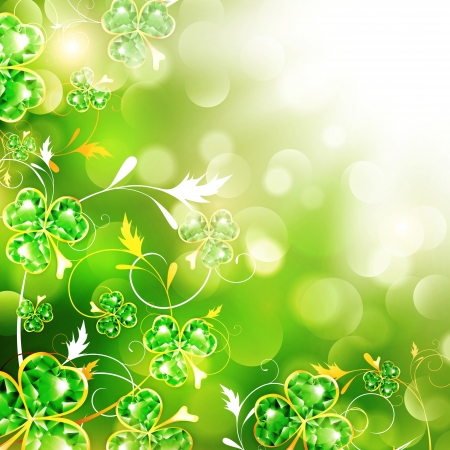 St.Patrick Floral With Jewelry Shamrocks Over Bright Background Vector
