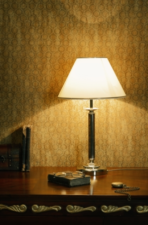 reading lamps: Cabinet Still Life In The Soft Light Of A Desk Lamp