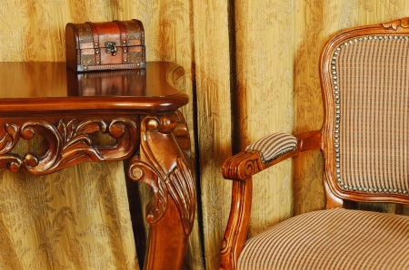 furnishings: Fragment Of The Interior With Antique Furniture And Coffret On The Table Stock Photo