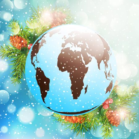 pinetree: Christmas and New Year Holiday Bright Background With Earth