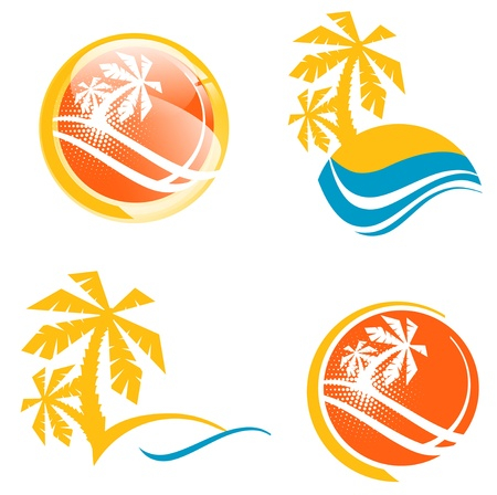 Summer Travel Icon Set With Tropic Palms and Abstract Sea Vector