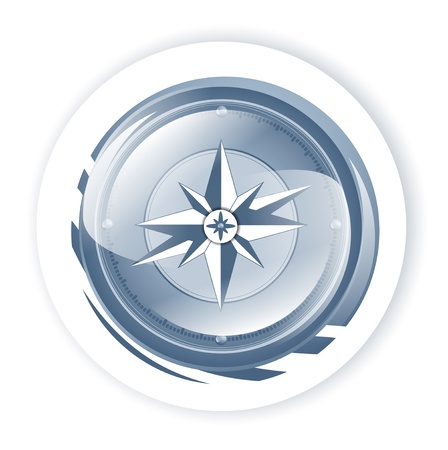 compass rose: Blue Compass Over White background