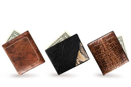 crocodile skin leather: Three Wallets With One Dollar Banknote In Each