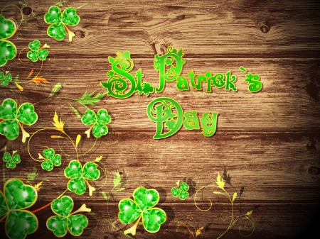 St.Patrick Day With Floral Clower at Natural Dark Wooden Background Stock Vector - 16799508