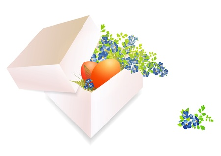 Opened Easter Box With Eggs and Flowers Over White Background Stock Vector - 17182050