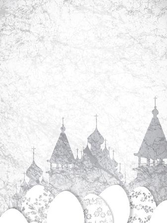 kopule: Náboženství Velikonoce Vintage papírové pozadí s kostelem kopule silueta, copy-space Ilustrace